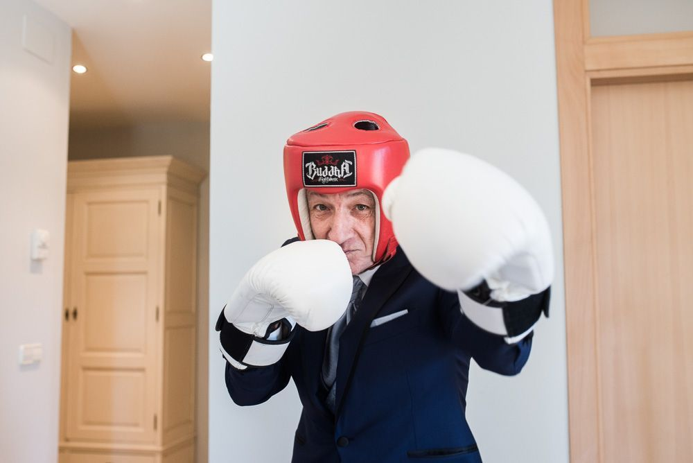 boxeador novio boda en restaurante villamarcilla