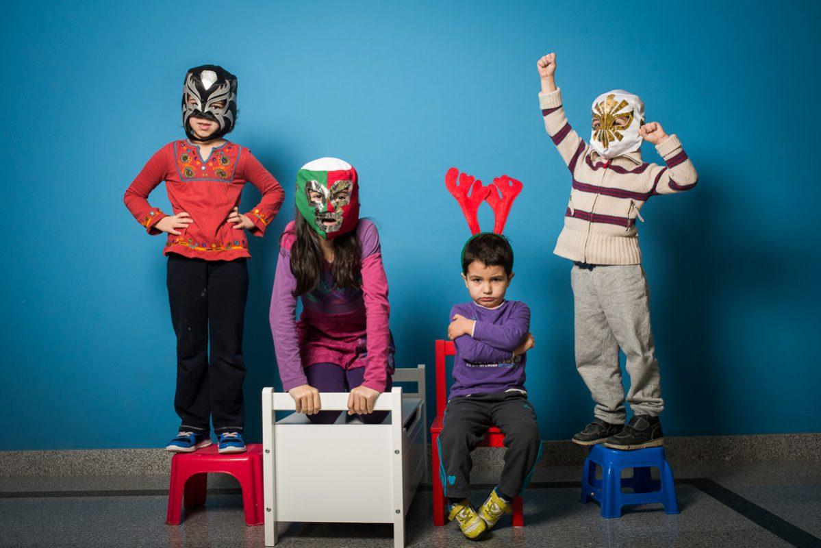 fotografo de familias navidad mascaras